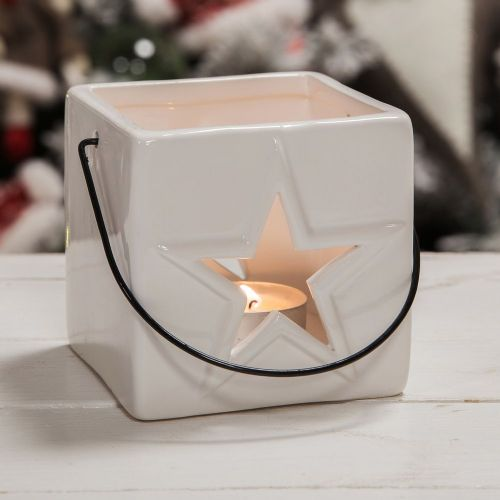 White Ceramic Star Candle Holder Modern Minimalist Christmas Decoration